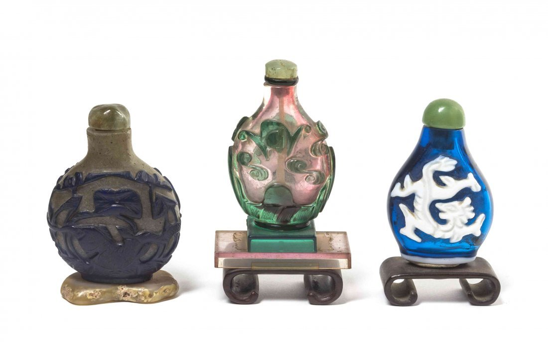 Three Glass Snuff Bottles, Height of first 2 1/4