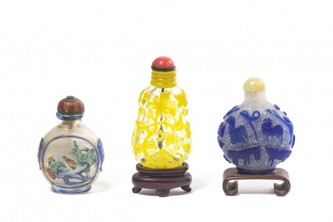 Three Glass Snuff Bottles, Height of tallest 2 5/8