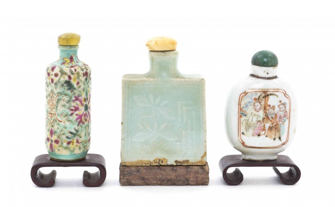 Three Porcelain Snuff Bottles, Height of first 2 5/8