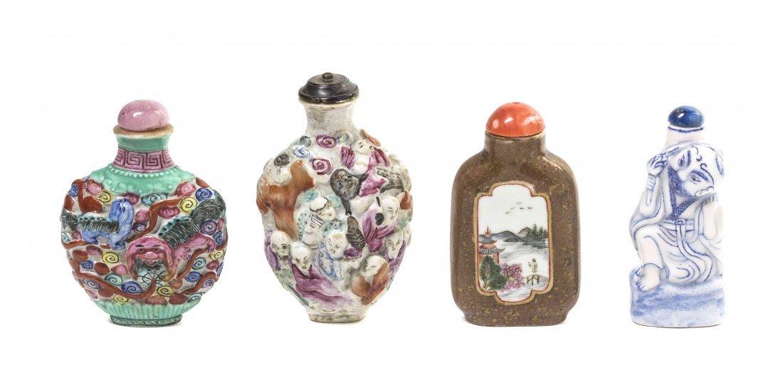 Four Porcelain Snuff Bottles, Height of tallest 3 1/2