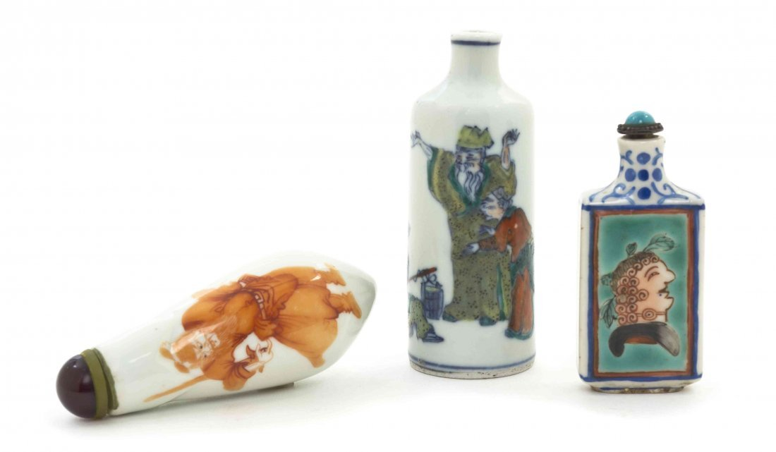 Three Porcelain Snuff Bottles, Height of tallest 3 1/2