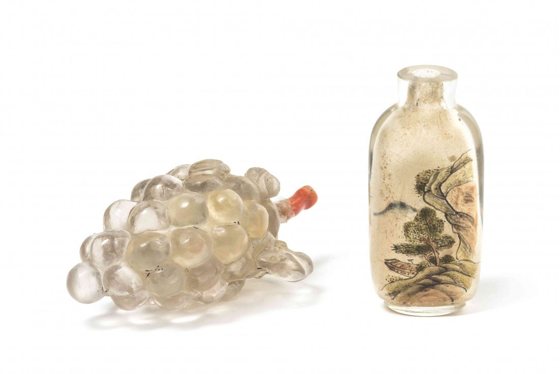 Two Glass Snuff Bottles, Height of Tallest 2 1/2