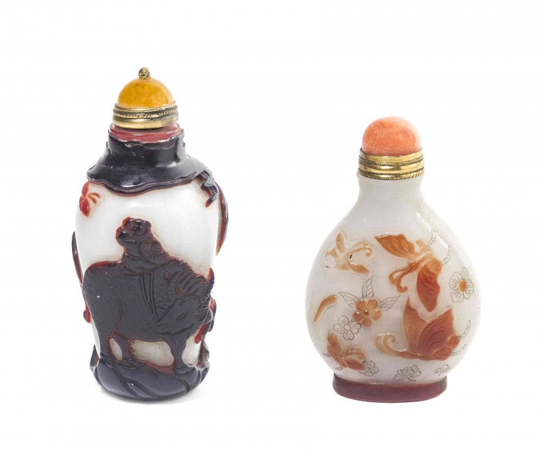 Two Peking Glass Overlay Snuff Bottles, Height of