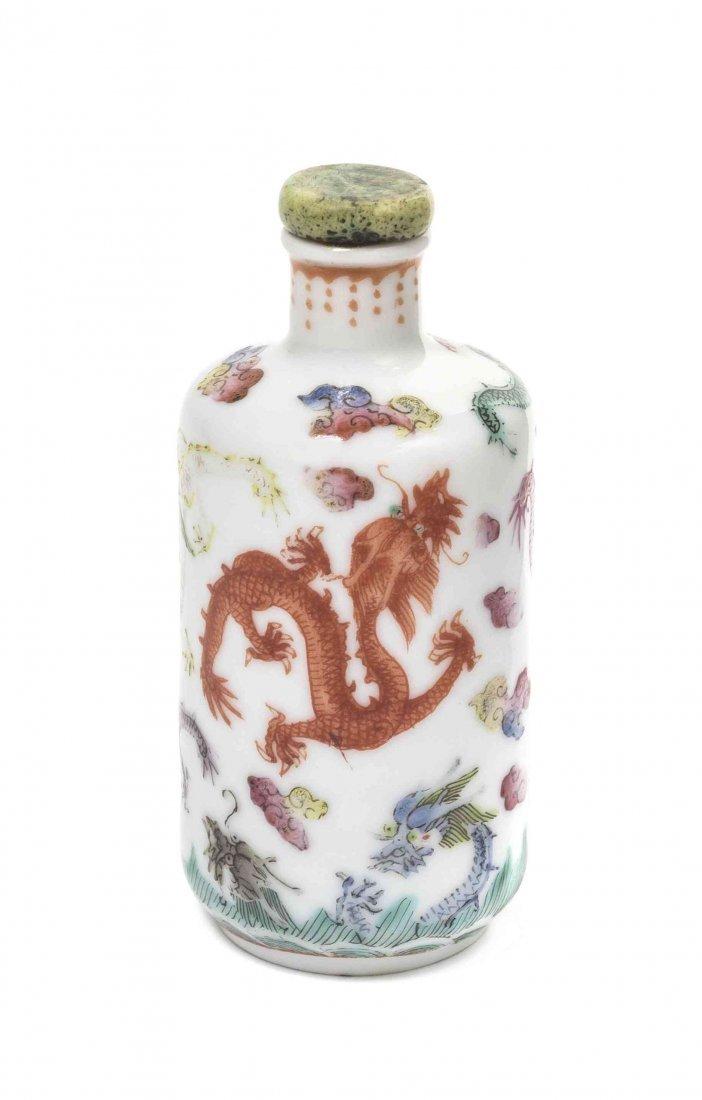 A Polychrome Enamel Porcelain Snuff Bottle, Height 3