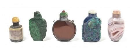 Four Hardstone Snuff Bottles Height of tallest 2 12