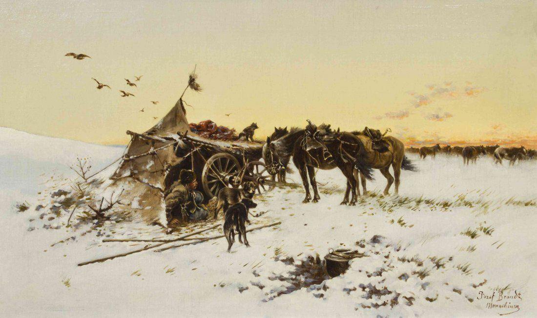 Josef von Brandt, (Polish, 1841-1915), Winter Campsite