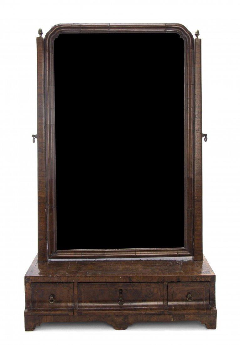 A Queen Anne Walnut Dressing Mirror, Height 26 x width