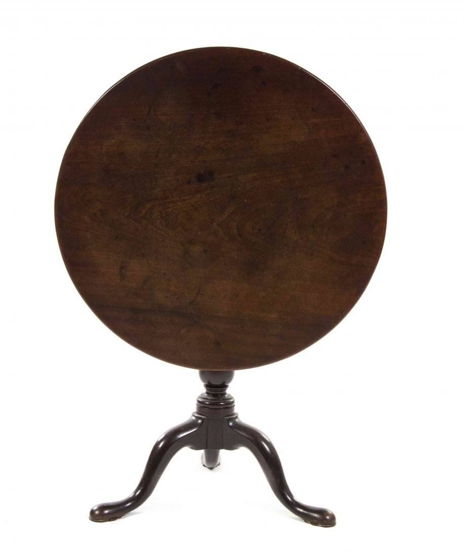 A Queen Anne Walnut Tilt-Top Tea Table, Height 27 3/4 x