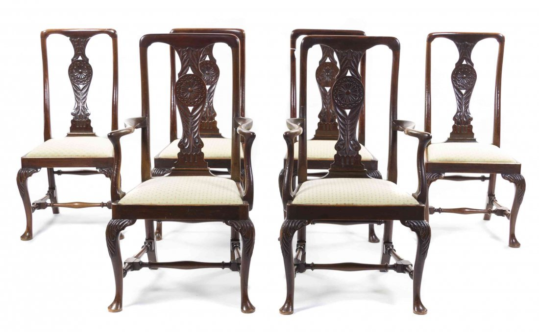 A Set of Six Queen Anne Style Mahogany Chairs, Height