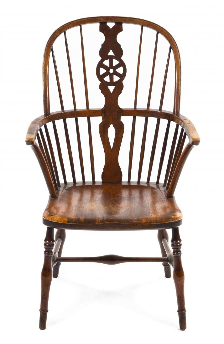 An English Oak Windsor Chair, Height 39 1/4 inches.