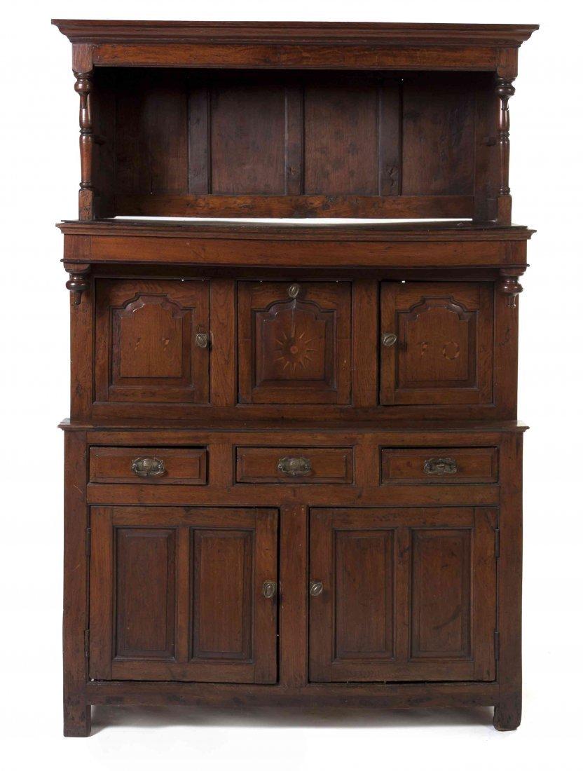 An English Oak Cupboard, Height 80 3/4 x width 53 x