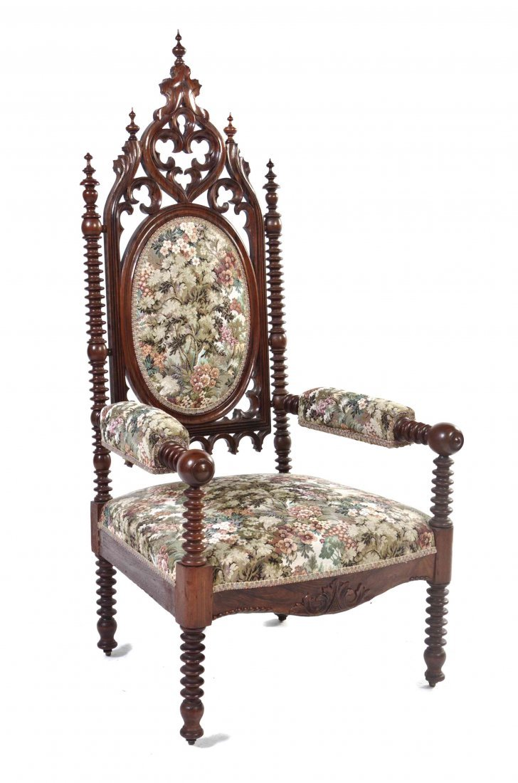 A Gothic Revival Rosewood Open Armchair, Height 56