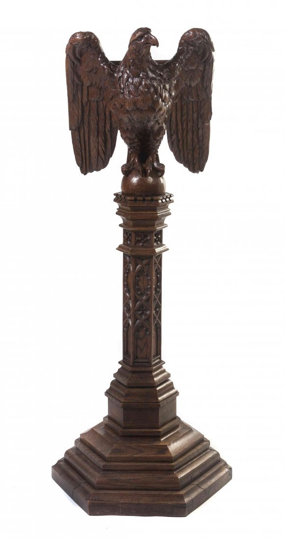 A Gothic Revival Oak Figural Lectern, Height 67 1/2