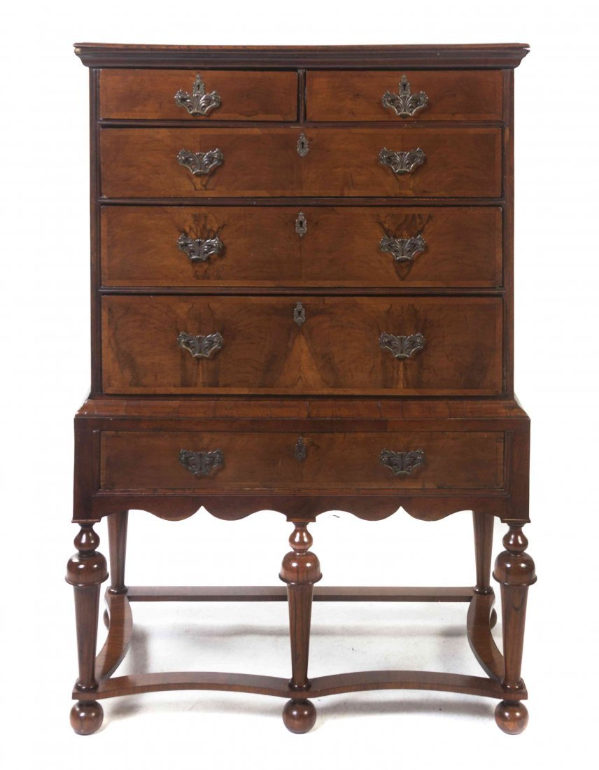 A William & Mary Style Walnut Chest on Stand, Height 58