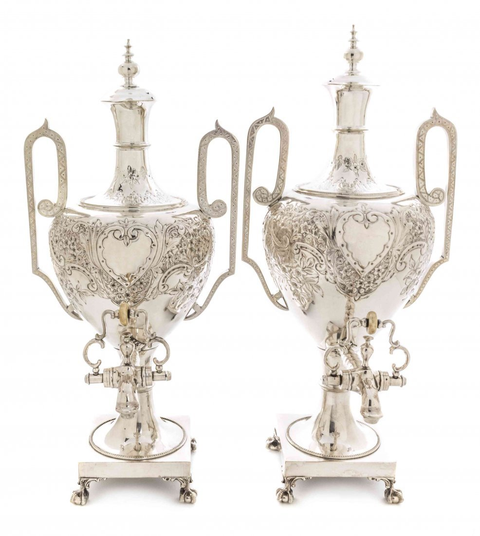 A Pair of English Silver-Plate Tea Urns, Height 20 1/2