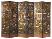 A Continental Painted Leather SixPanel Floor Screen