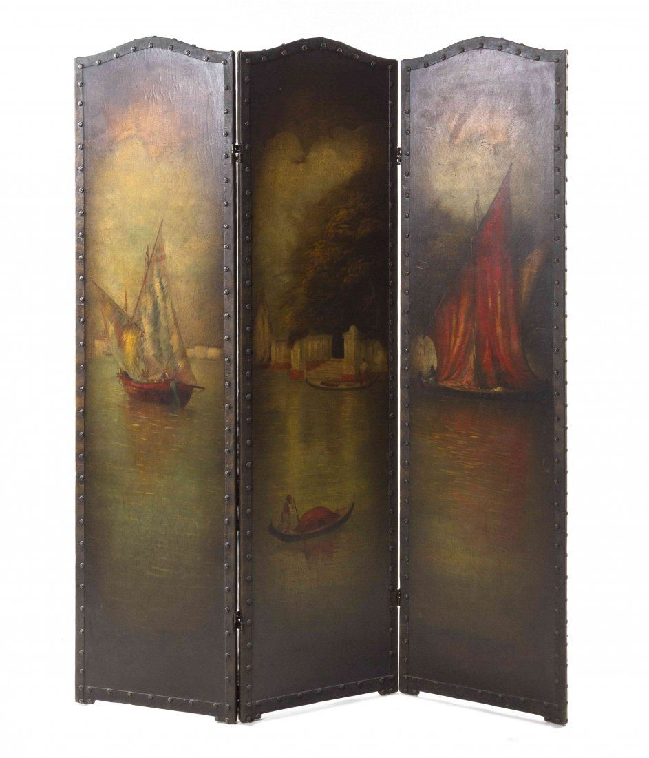 A Continental Painted Canvas Three-Panel Floor Screen,
