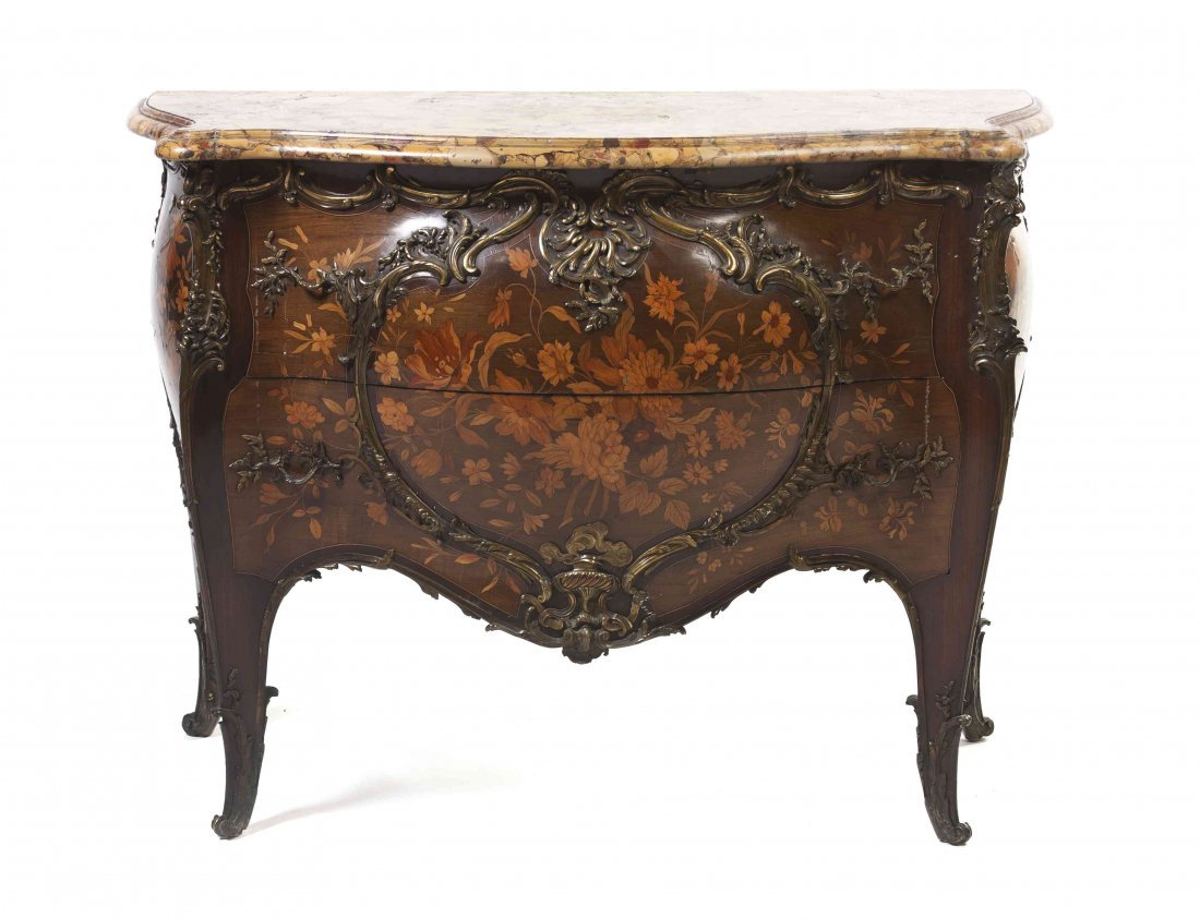 A Louis XV Style Gilt Bronze Mounted Marquetry Bombe Co