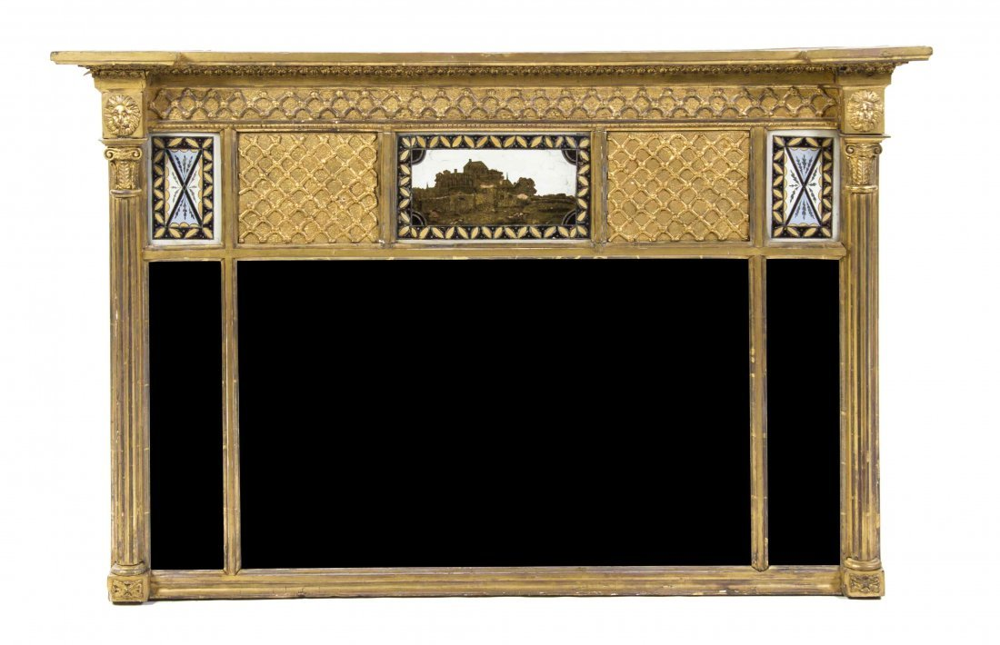 A Federal Giltwood Over Mantel Mirror, Height 27 1/2 x