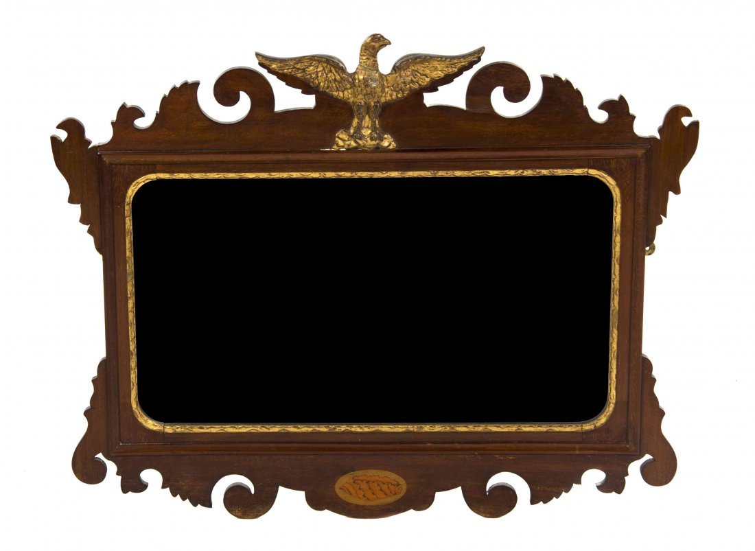 A Federal Style Giltwood and Mahogany Mirror, Height 24