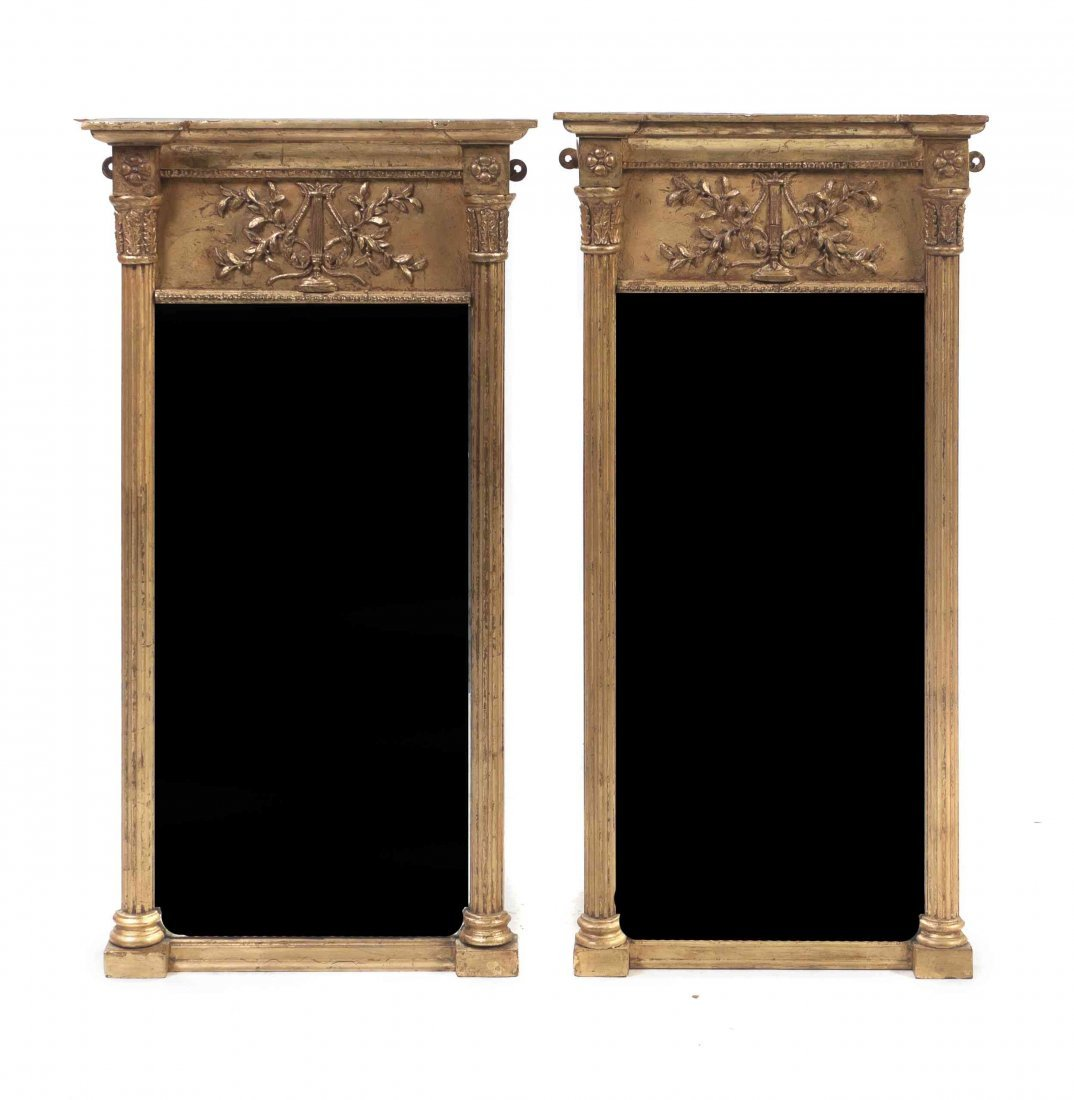A Pair of American Federal Giltwood Mirrors, Height 31