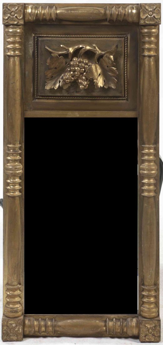 A Federal Style Giltwood Mirror, Height 36 x width 17