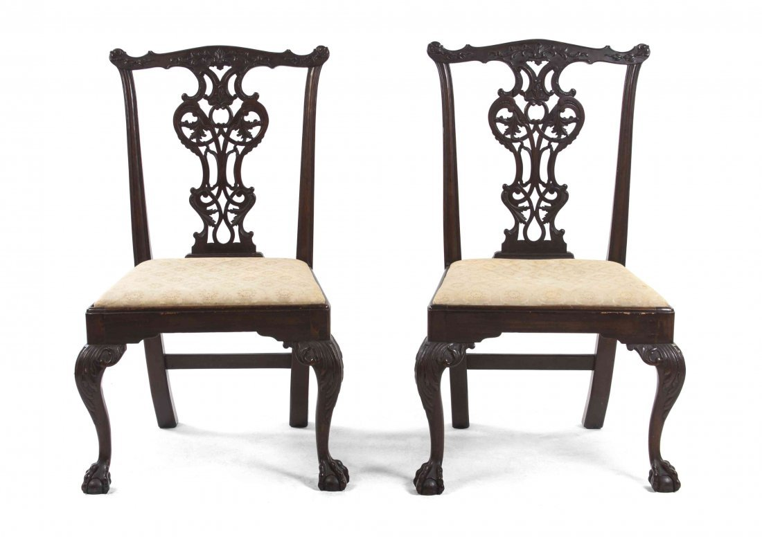 A Pair of American Chippendale Style Walnut Side