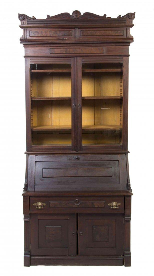 An American Walnut Secretary Bookcase, Height 93 x