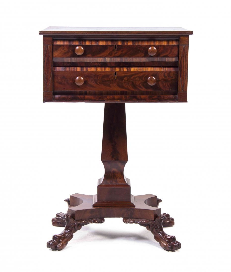 An American Mahogany Writing Table, Height 30 3/4 x