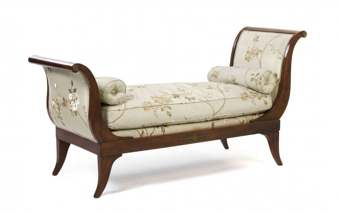An Empire Style Mahogany Bench, Width 57 3/4 inches.