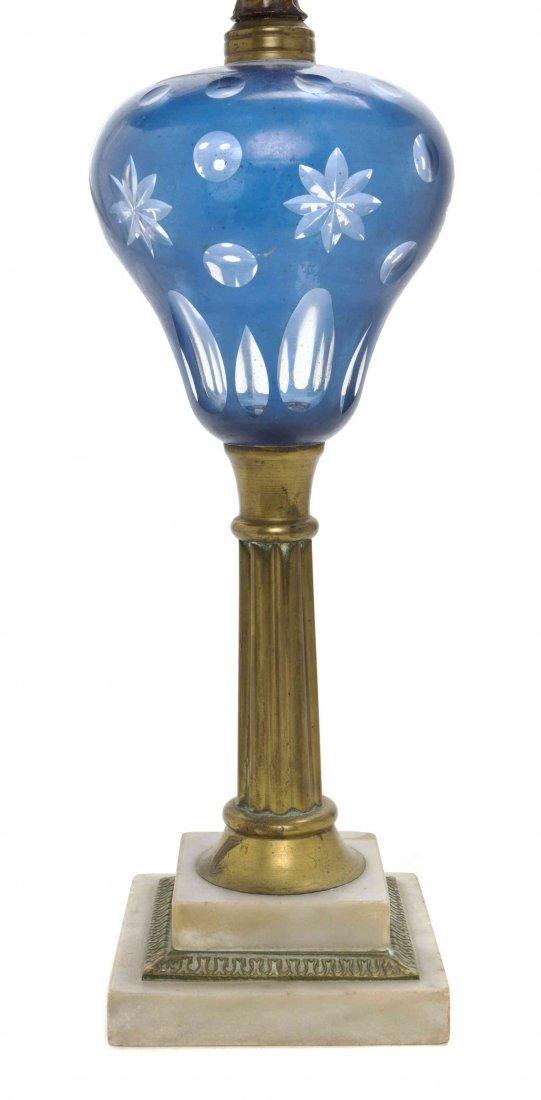An American Cut Glass Overlay Fluid Lamp, Boston