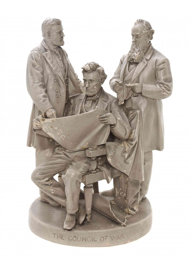 An American Painted Plaster Figural Group, John Rogers