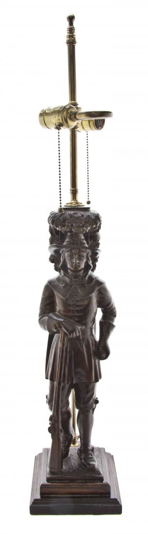 An American Carved Mahogany Figure, Height of figure 19