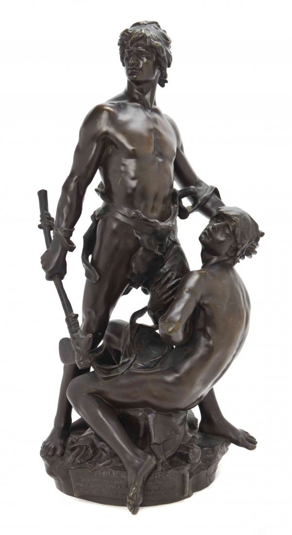 A French Bronze Figural Group, Eugene Marioton