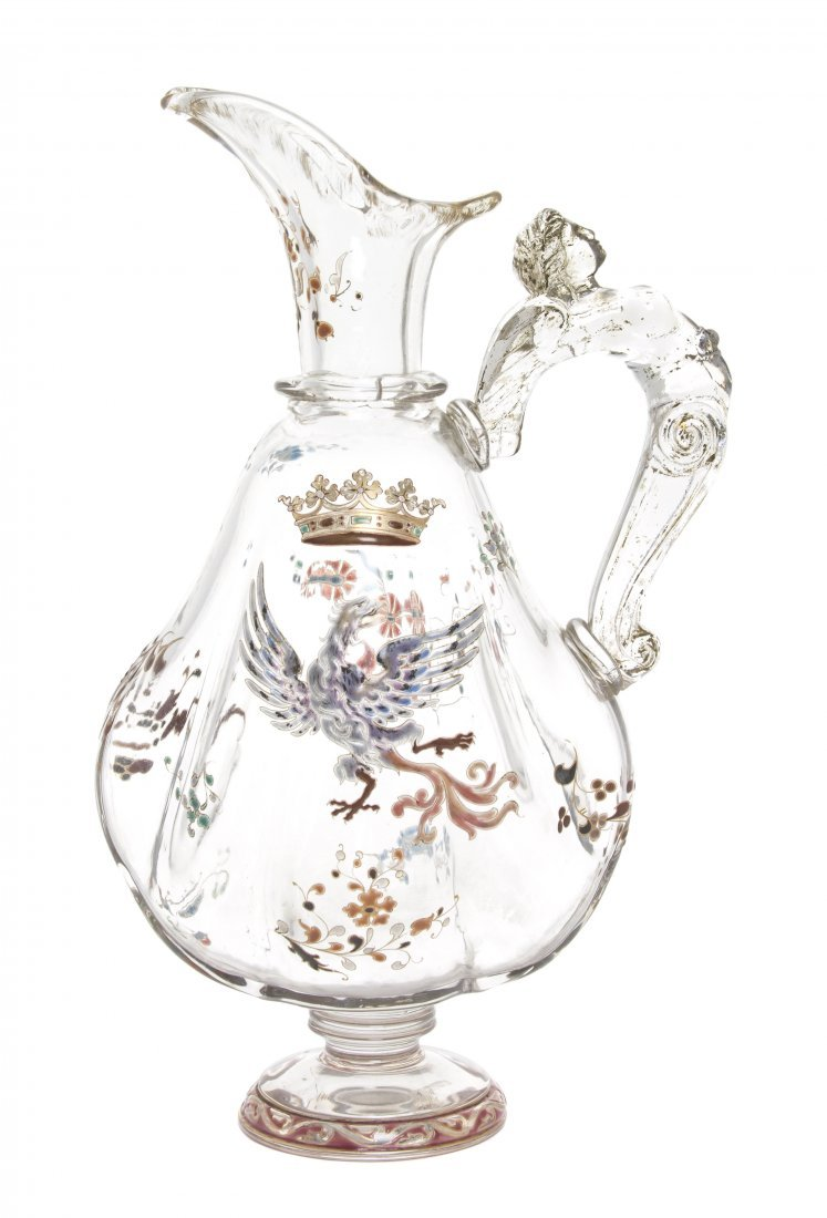 An Emile Galle Enameled Glass Ewer, (French,