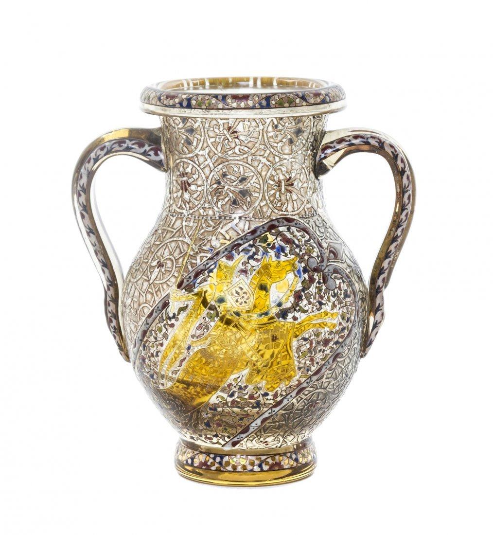 An Emile Galle Enameled Glass Vase, (French,
