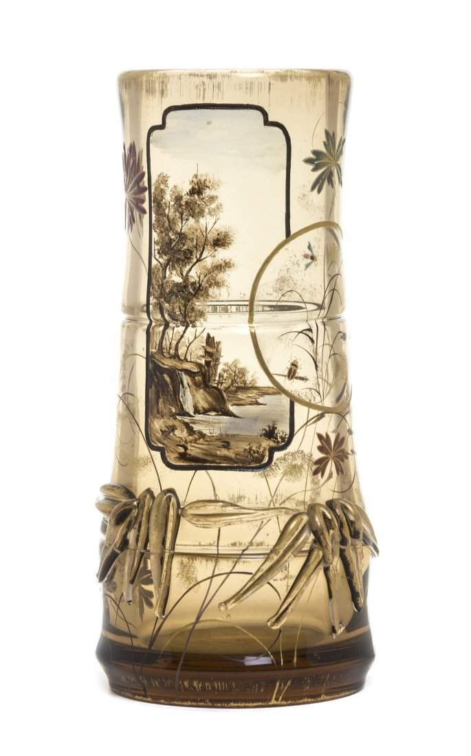 An Emile Galle Enameled and Applied Glass Vase,