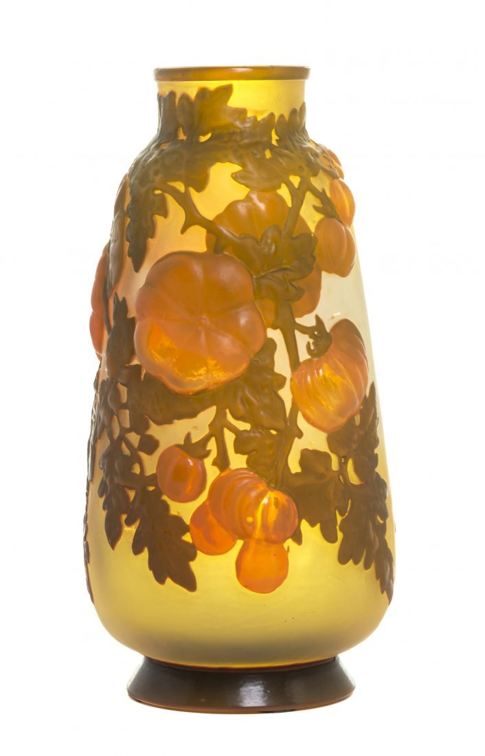 A Galle Mold Blown Glass Vase, Height 11 1/4 inches.