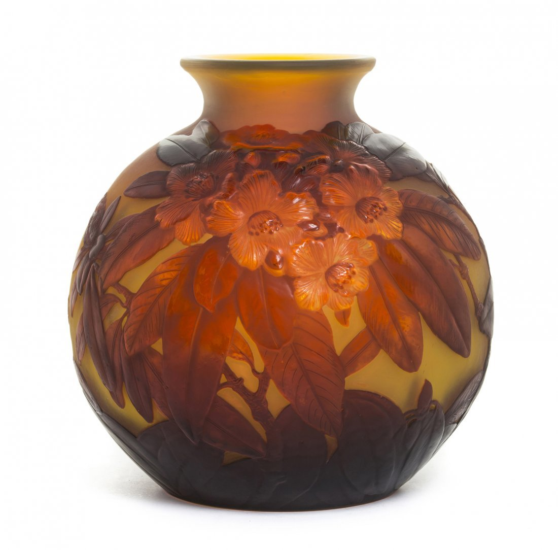 A Galle Mold Blown Cameo Glass Vase, Height 10 inches.