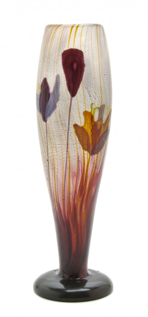 A Galle Marquetry Glass Crocus Vase, Height 13 1/2