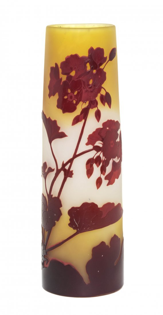 A Galle Cameo Glass Vase, Height 10 3/8 inches.