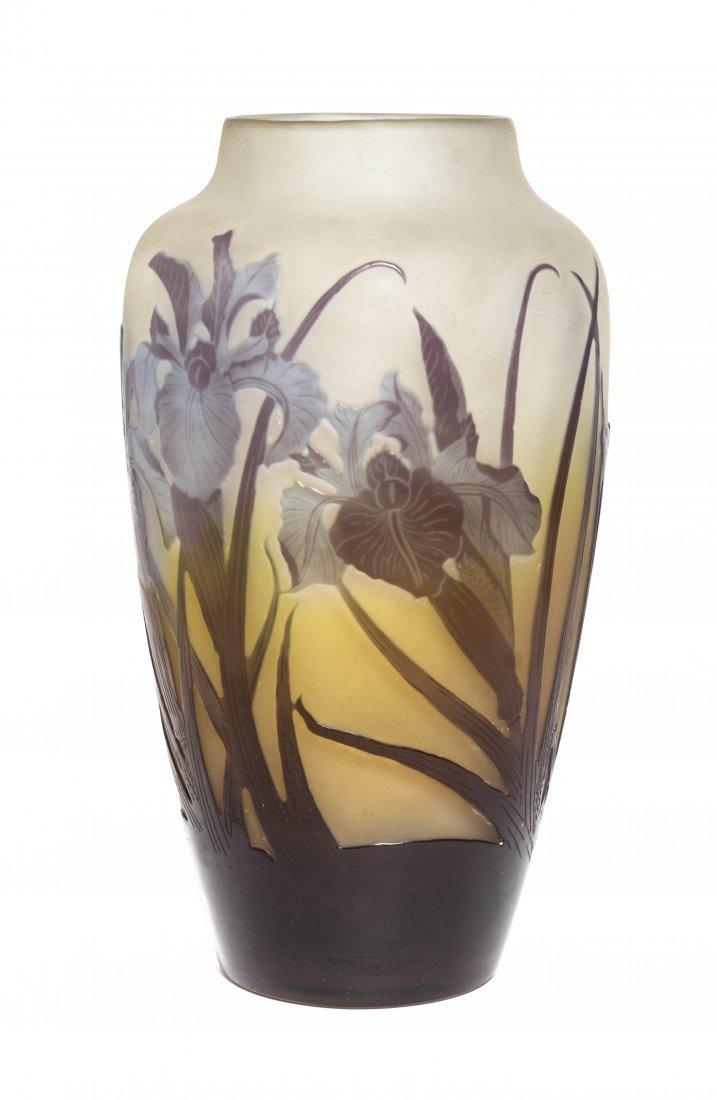 A Galle Cameo Glass Vase, Height 9 3/4 inches.