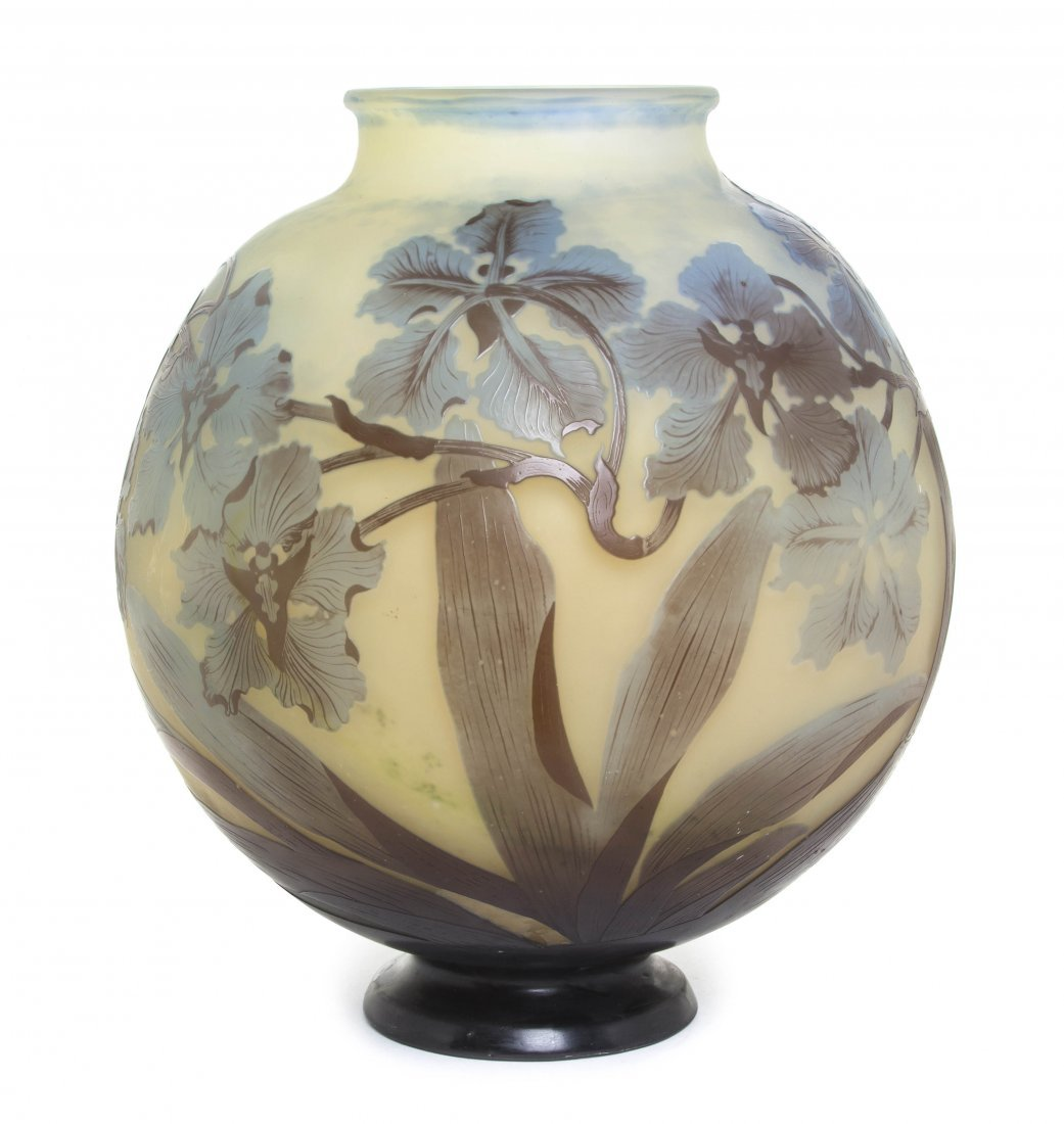 A Galle Cameo Glass Vase, Height 11 3/4 inches.