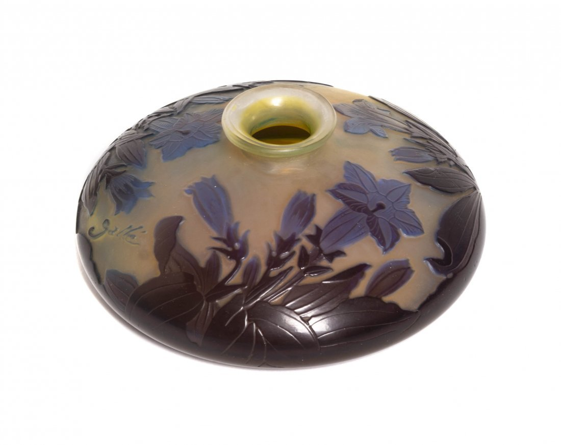 A Galle Cameo Glass Vase, Diameter 6 3/8 inches.