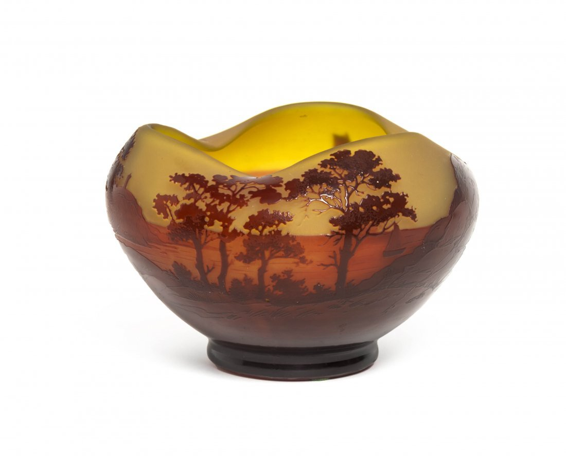 A D'Argental Cameo Glass Vase, Diameter 6 1/8 inches.
