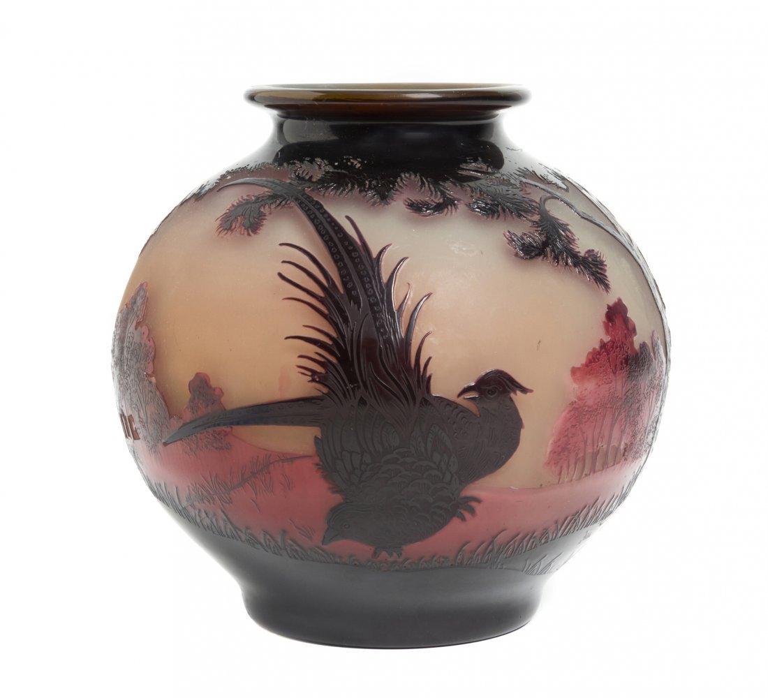 A Paul Nicolas Cameo Glass Vase, (French, 1875-1952),