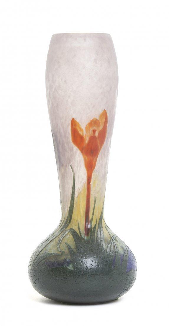 A Daum Nancy Crocus Vase, Height 12 inches.