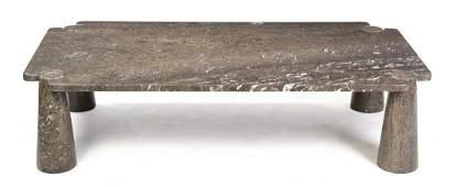 An Angelo Mangiarotti Marble Low Table, (Italian, b.