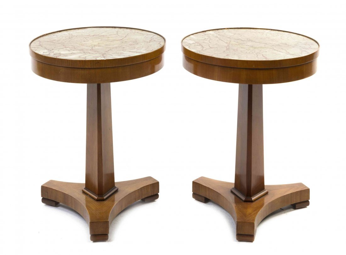 A Pair of Biedermeier Style Faux Marble Inset