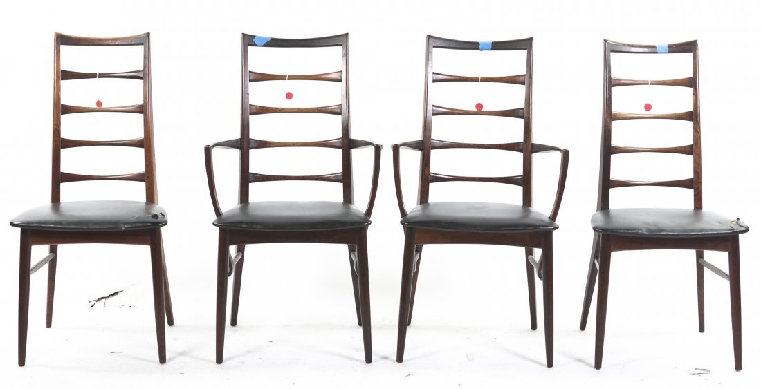 A Set of Four Danish Rosewood Liz Chairs, Niels O,